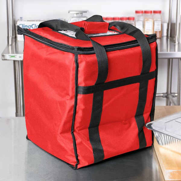 Choice Soft Sided Insulated Food Delivery Bag Red Nylon 13 X 15 1 2