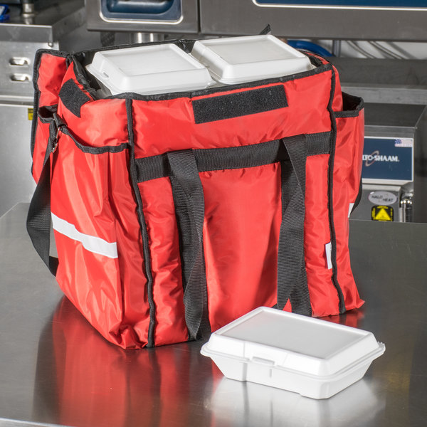 """ServIt Insulated Food Delivery Bag, Red Soft-Sided Heavy-Duty Nylon, 13"""" x 13"""" x 15 1/2"""" - Holds (6) 2 1/2"""" Deep 1/2 Size Pans or (18) 2 Qt. Container"""