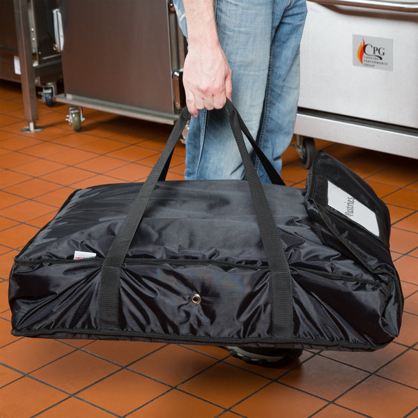 "ServIt Soft-Sided Bun Pan / Rectangular Pizza Carrier, Black Nylon, 28"" x 20"" x 6"""