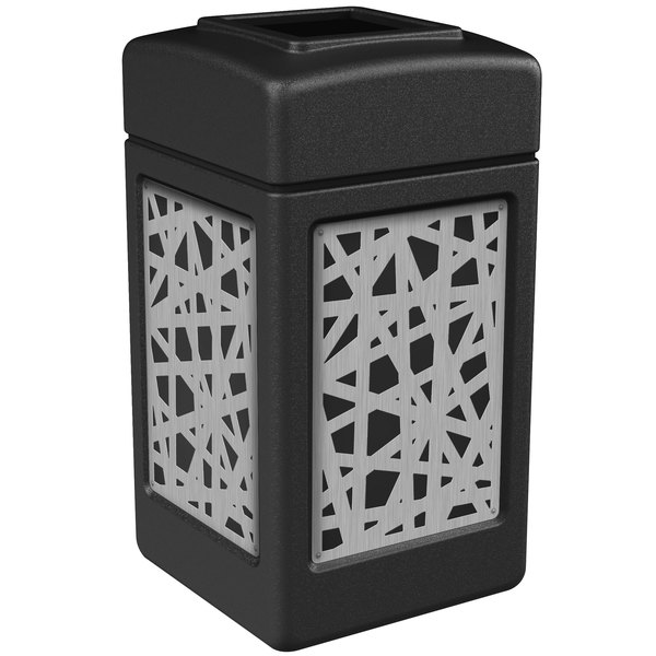 Commercial Zone 734261 42 Gallon Black Square Trash Receptacle with Stainless Steel Intermingle Panels Main Image 1