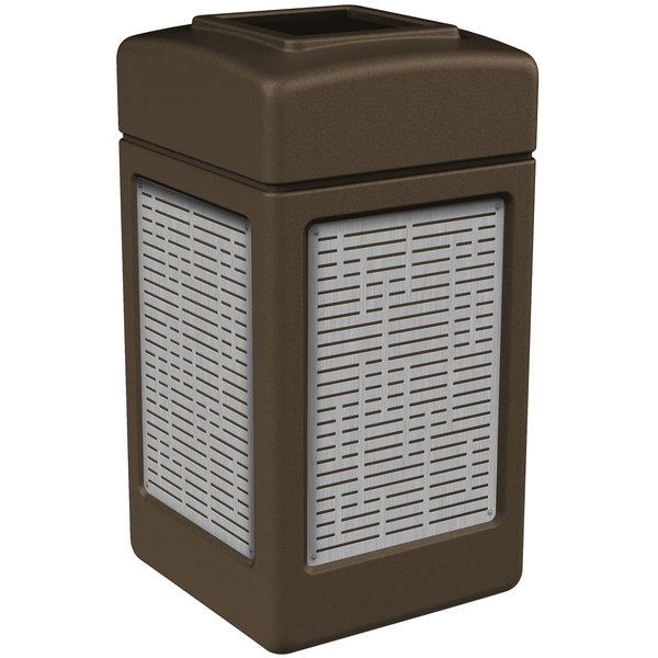 Commercial Zone 734062 42 Gallon Brown Square Trash Receptacle with Stainless Steel Horizontal Line Panels Main Image 1