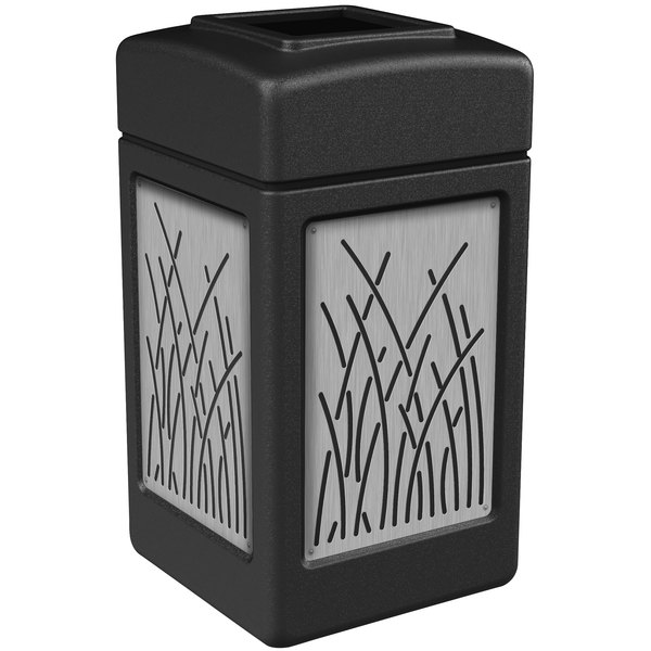 Commercial Zone 734161 42 Gallon Black Square Trash Receptacle with Stainless Steel Reed Panels Main Image 1