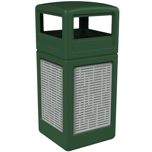Commercial Zone 732906099 Precision Series 42 Gallon Green Trash Receptacle with Stainless Steel Horizontal Line Panels and Dome Lid
