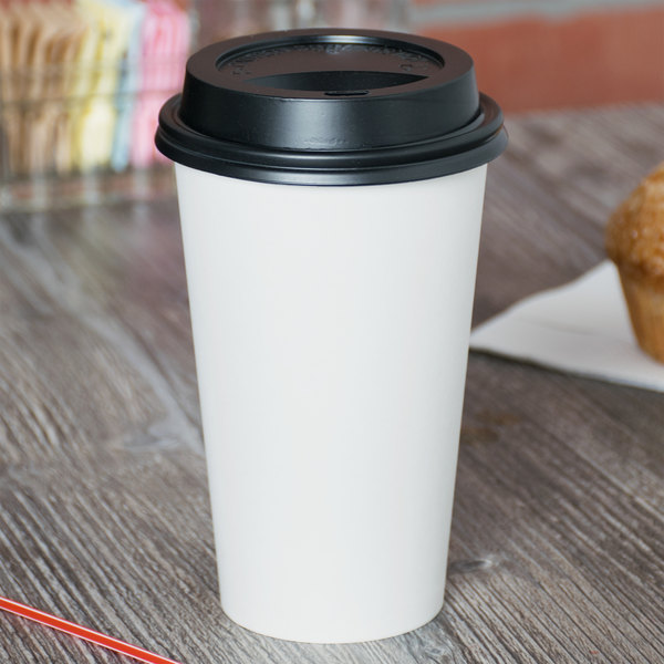 Choice 16 oz. White Poly Paper Hot Cup and Lid - 100/Pack