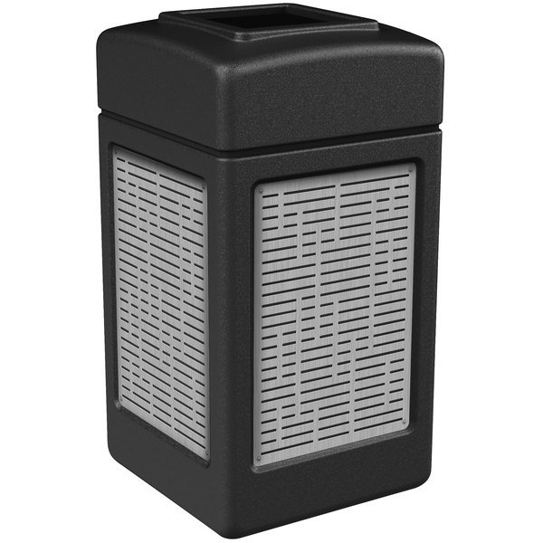 Commercial Zone 734061 42 Gallon Black Square Trash Receptacle with Stainless Steel Horizontal Line Panels Main Image 1