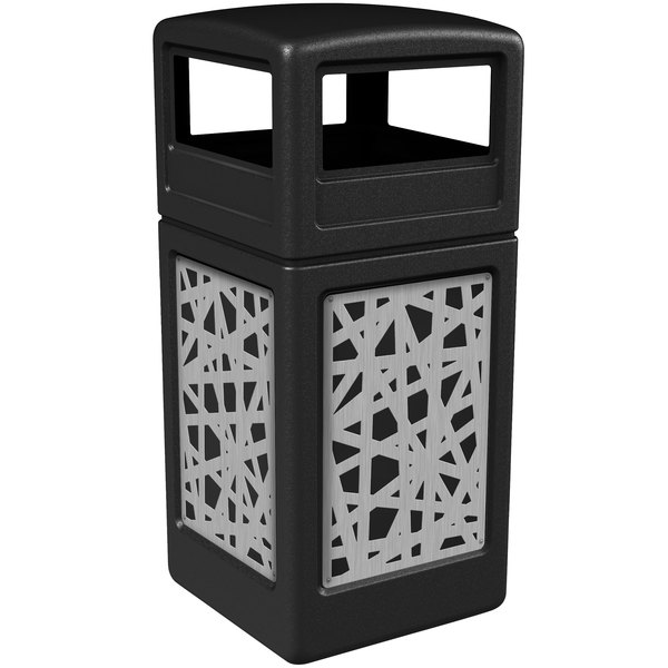 Commercial Zone 732926199 Precision Series 42 Gallon Black Trash Receptacle with Stainless Steel Intermingle Panels and Dome Lid