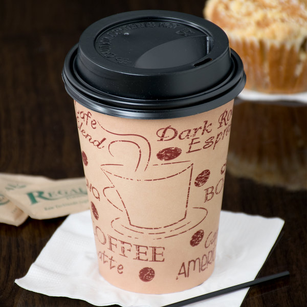 Choice 12 oz. Cafe Print Poly Paper Hot Cup and Lid - 100/Pack