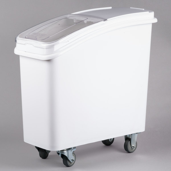 keep ingredients close at hand with this bakeru0027s mark 21 gallon white mobile ingredient storage bin with lid