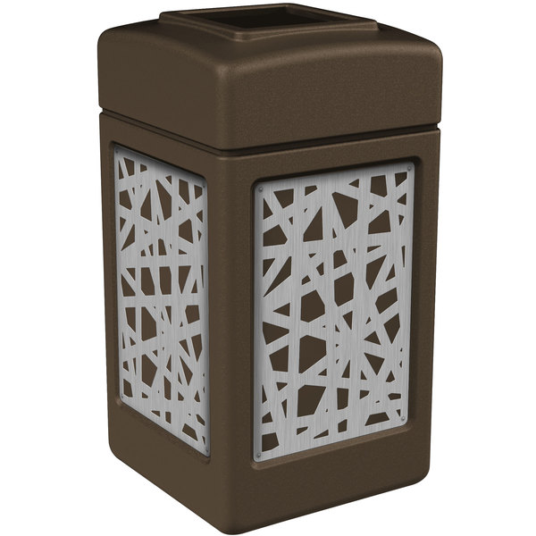 Commercial Zone 734262 42 Gallon Brown Square Trash Receptacle with Stainless Steel Intermingle Panels Main Image 1