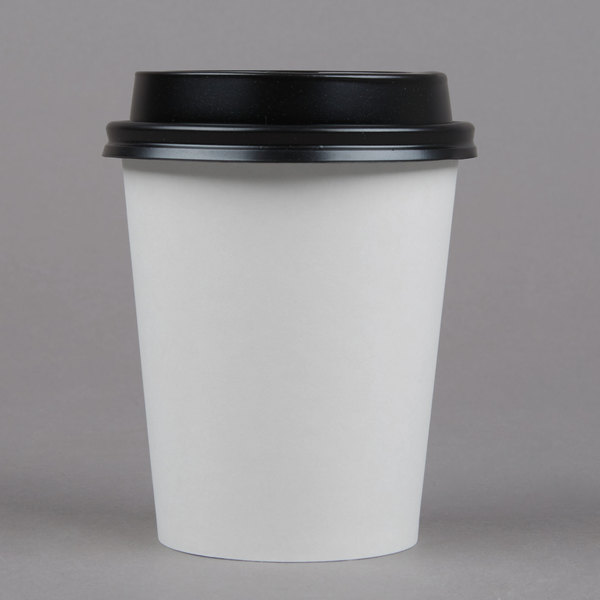 Choice 8 Oz White Poly Paper Hot Cup And Lid 100pack