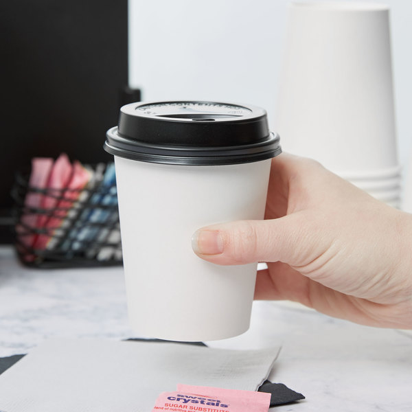 Choice 8 oz. White Poly Paper Hot Cup and Lid - 100/Pack