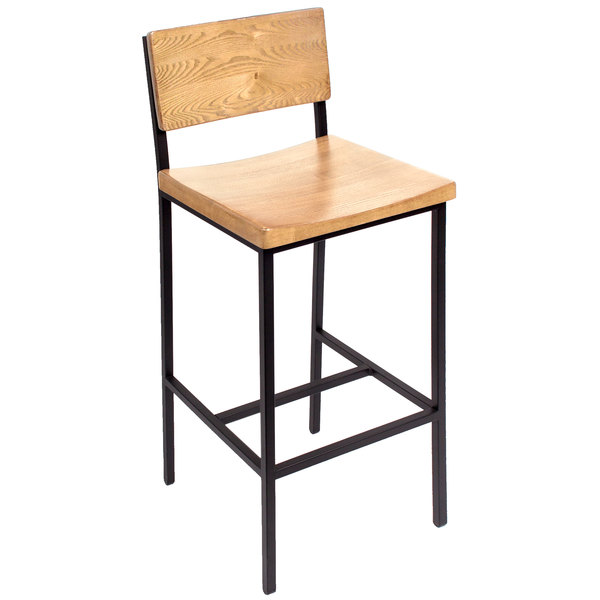 Strange Bfm Seating Js33Bntw Sb Memphis Sand Black Steel Bar Height Chair With Natural Ash Wooden Back And Seat Machost Co Dining Chair Design Ideas Machostcouk