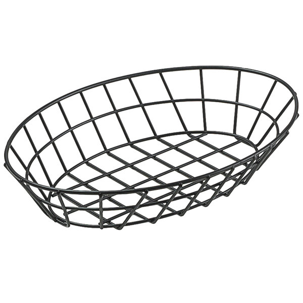 """Clipper Mill by GET 4-30188 12"""" x 8 1/4"""" Black Iron Powder Coated Oval Grid Basket"""