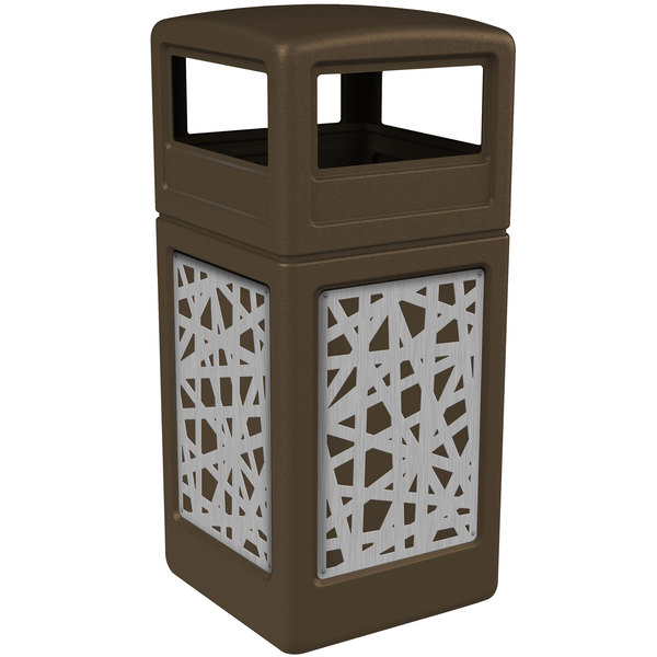 Commercial Zone 732926299 42 Gallon Brown Square Trash Receptacle with Stainless Steel Intermingle Panels and Dome Lid Main Image 1