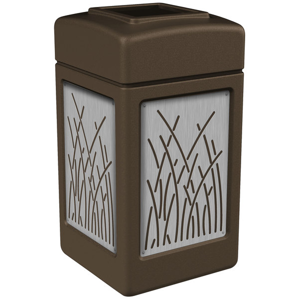 Commercial Zone 734162 42 Gallon Brown Square Trash Receptacle with Stainless Steel Reed Panels Main Image 1