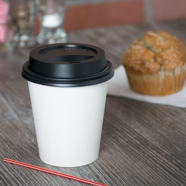 Choice 10 oz. White Poly Paper Hot Cup and Lid - 100/Pack