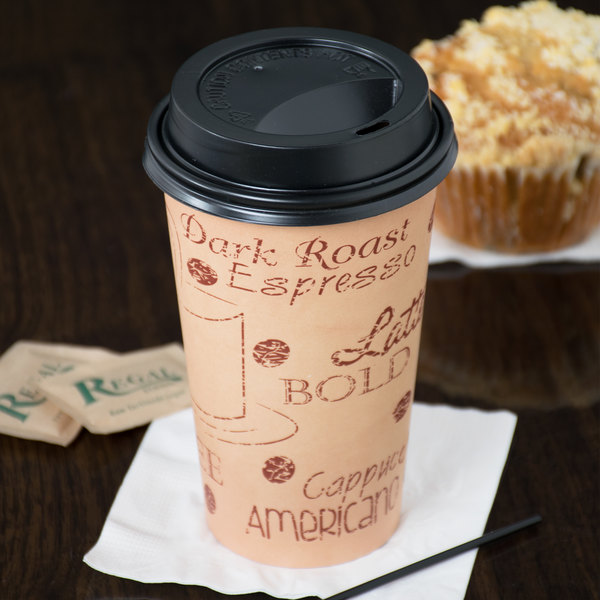 Choice 16 oz. Cafe Print Poly Paper Hot Cup and Lid - 100/Pack