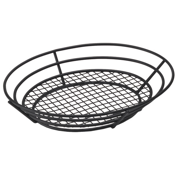 Clipper Mill by GET 4-38848 12 1/2 inch x 9 1/4 inch Black Iron Powder Coated Oval Basket with Raised Grid Base