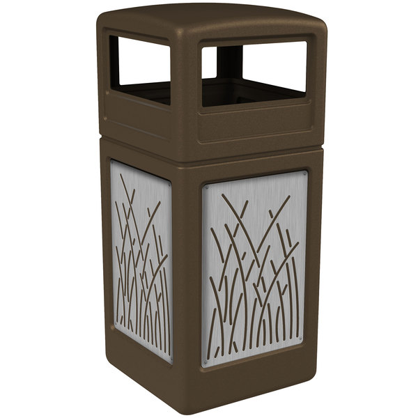 Commercial Zone 732916299 42 Gallon Brown Square Trash Receptacle with Stainless Steel Reed Panels and Dome Lid Main Image 1