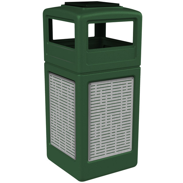 Commercial Zone 733006099 Precision Series 42 Gallon Green Trash Receptacle with Stainless Steel Horizontal Line Panels and Ashtray Lid