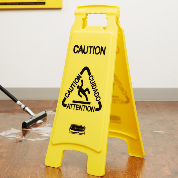 """Rubbermaid FG611200YEL 25"""" Yellow Double Sided Multi-Lingual Caution Wet Floor Sign"""