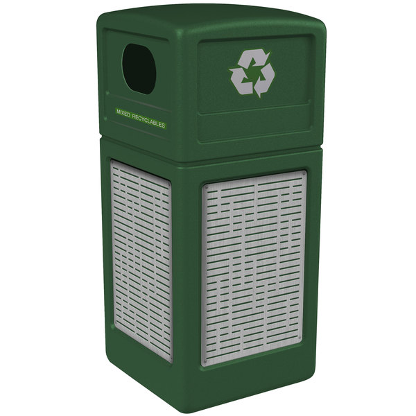 Commercial Zone 746106099 Precision Series 42 Gallon Green Recycling Receptacle with Stainless Steel Horizontal Line Panels