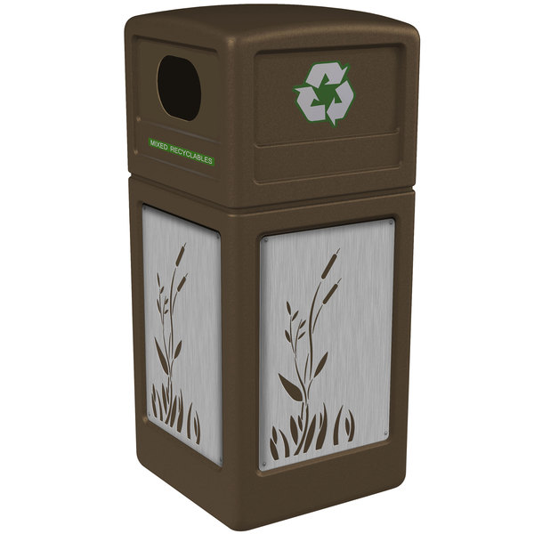Commercial Zone 746196299 Precision Series 42 Gallon Brown Recycling Receptacle with Stainless Steel Cattail Panels