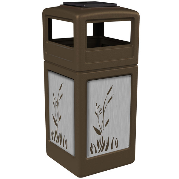 Commercial Zone 733096299 Precision Series 42 Gallon Brown Trash Receptacle with Stainless Steel Cattail Panels and Ashtray Lid