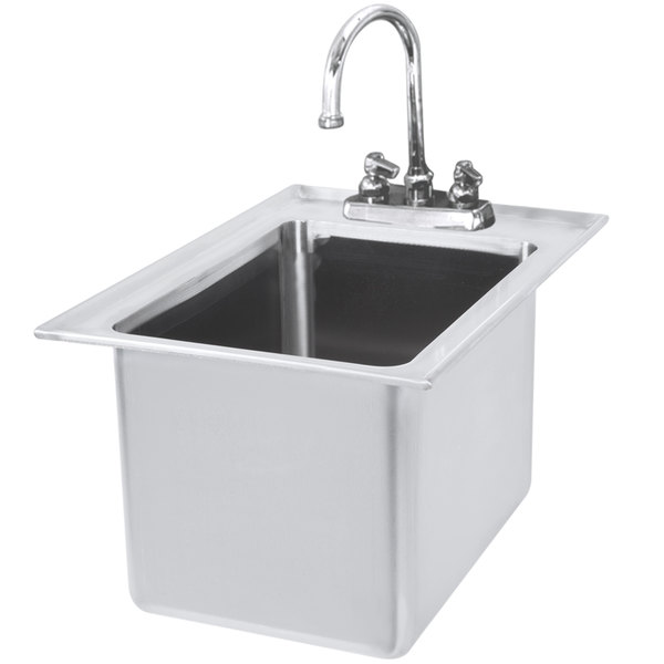 Eagle Group WSSDI12-15 Spec-Bar 1 Bowl Drop-In Underbar Hand Sink with Deck Mount Gooseneck Faucet