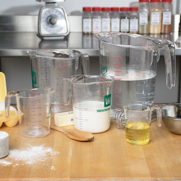 WebstaurantStore Logo 5-Piece Clear Polycarbonate Measuring Cup Set