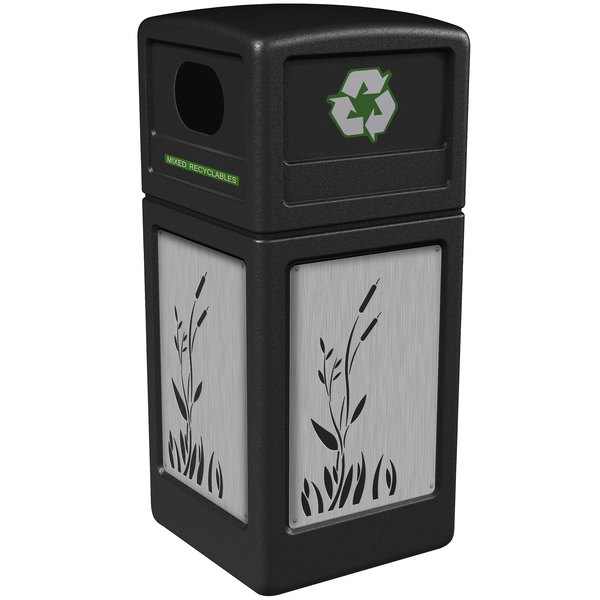 Commercial Zone 746196199 Precision Series 42 Gallon Black Recycling Receptacle with Stainless Steel Cattail Panels