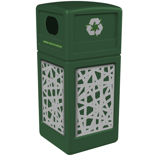 Commercial Zone 746126099 42 Gallon Green Recycling Receptacle with Stainless Steel Intermingle Panels