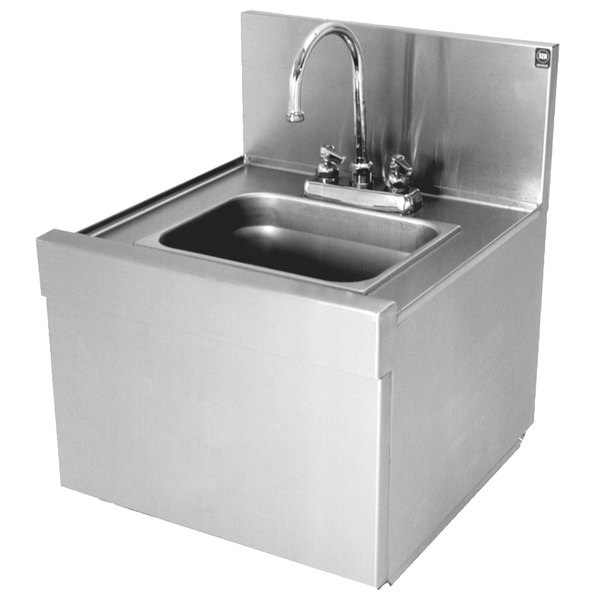 Eagle Group WSS14-15 Spec-Bar 1 Bowl Wall Mounted Underbar Wet Waste Sink with Deck Mount Gooseneck Faucet and Perforated Strainer