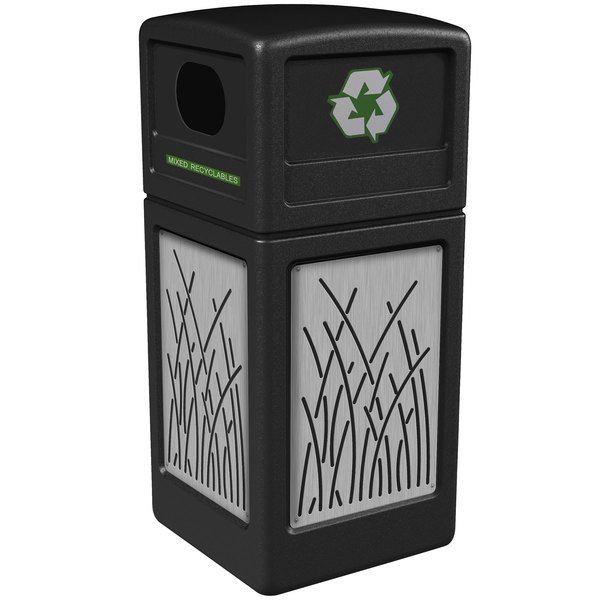 Commercial Zone 746116199 Precision Series 42 Gallon Black Recycling Receptacle with Stainless Steel Reed Panels