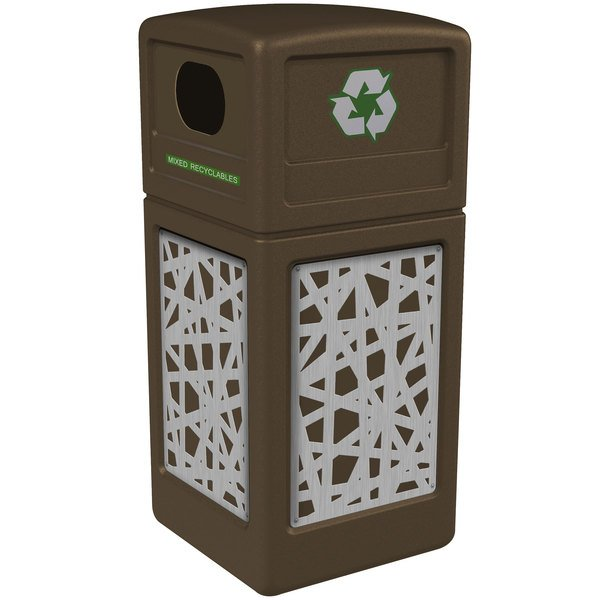 Commercial Zone 746126299 Precision Series 42 Gallon Brown Recycling Receptacle with Stainless Steel Intermingle Panels