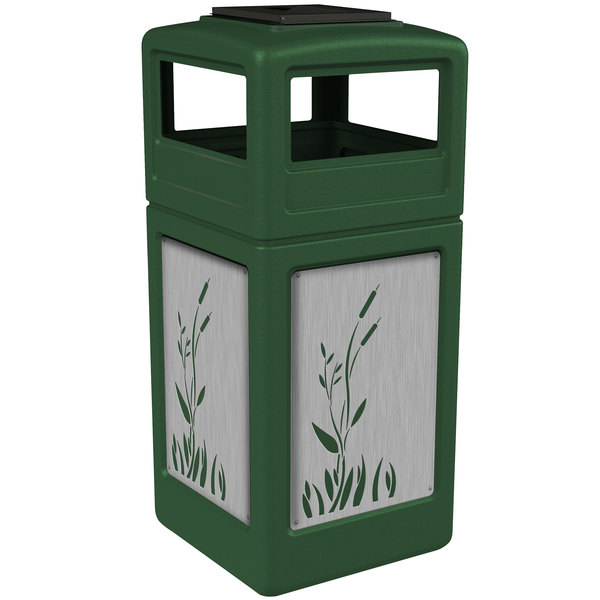 Commercial Zone 733096099 Precision Series 42 Gallon Green Trash Receptacle with Stainless Steel Cattail Panels and Ashtray Lid