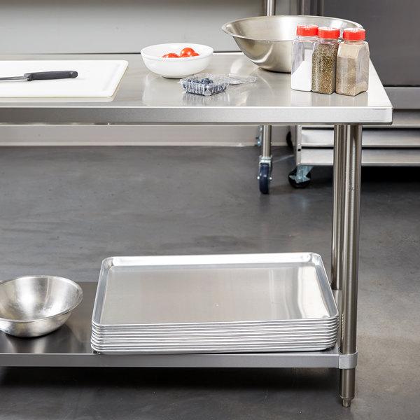 "Regency Spec Line 24"" x 60"" 14 Gauge Stainless Steel Commercial Work Table with Undershelf Main Image 2"
