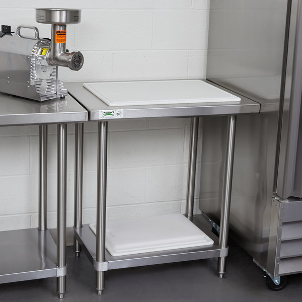 "Regency Spec Line 24"" x 30"" 14 Gauge Stainless Steel Commercial Work Table with Undershelf Main Image 3"