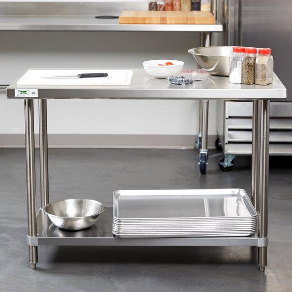 "Regency Spec Line 24"" x 48"" 14 Gauge Stainless Steel Commercial Work Table with Undershelf Main Image 3"