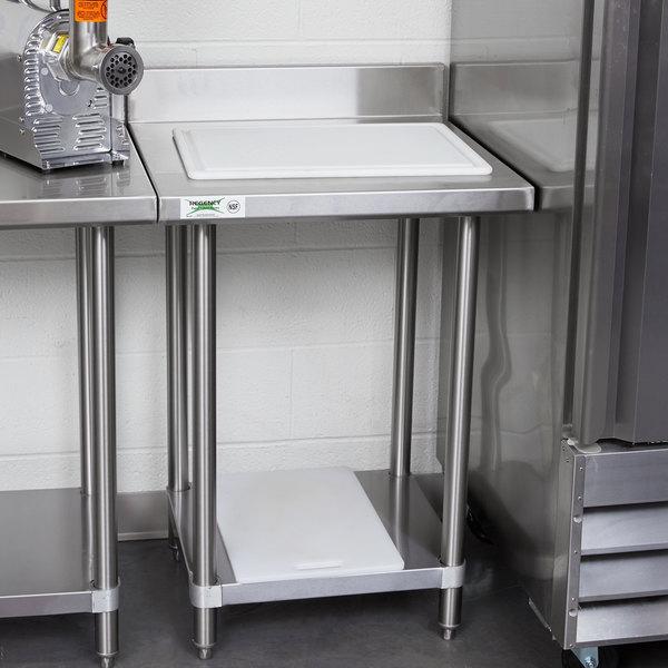 "Regency Spec Line 24"" x 24"" 14 Gauge Stainless Steel Commercial Work Table with 4"" Backsplash and Undershelf Main Image 3"