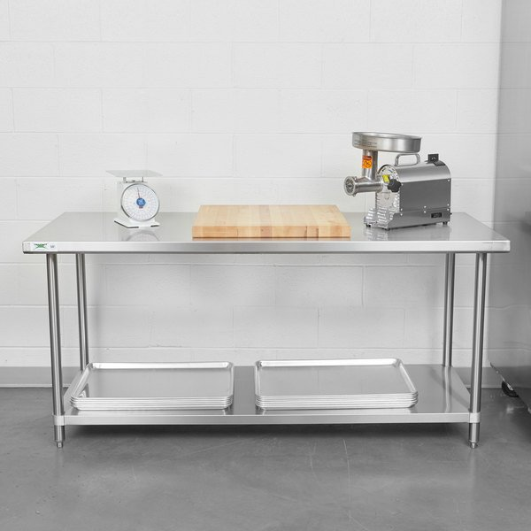 "Regency Spec Line 30"" x 72"" 14 Gauge Stainless Steel Commercial Work Table with Undershelf Scratch and Dent"