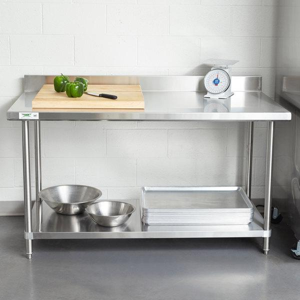 "Regency Spec Line 30"" x 60"" 14 Gauge Stainless Steel Commercial Work Table with 4"" Backsplash and Undershelf Main Image 3"