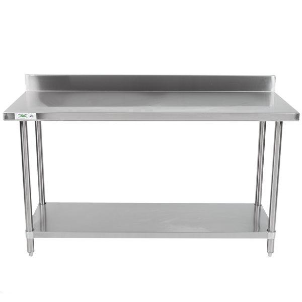 "Regency Spec Line 24"" x 60"" 14 Gauge Stainless Steel Commercial Work Table with 4"" Backsplash and Undershelf"