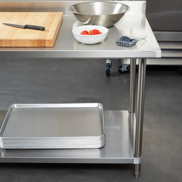 "Regency Spec Line 24"" x 48"" 14 Gauge Stainless Steel Commercial Work Table with 4"" Backsplash and Undershelf Main Image 2"