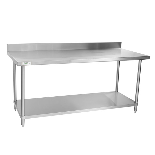 increase prep space at your establishment with this regency spec line 30 x 72 14 gauge stainless steel commercial work table with backsplash and