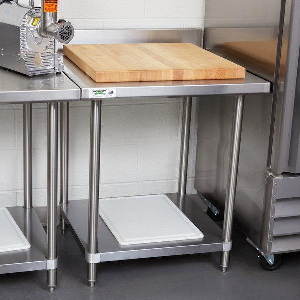 "Regency Spec Line 30"" x 30"" 14 Gauge Stainless Steel Commercial Work Table with 4"" Backsplash and Undershelf"