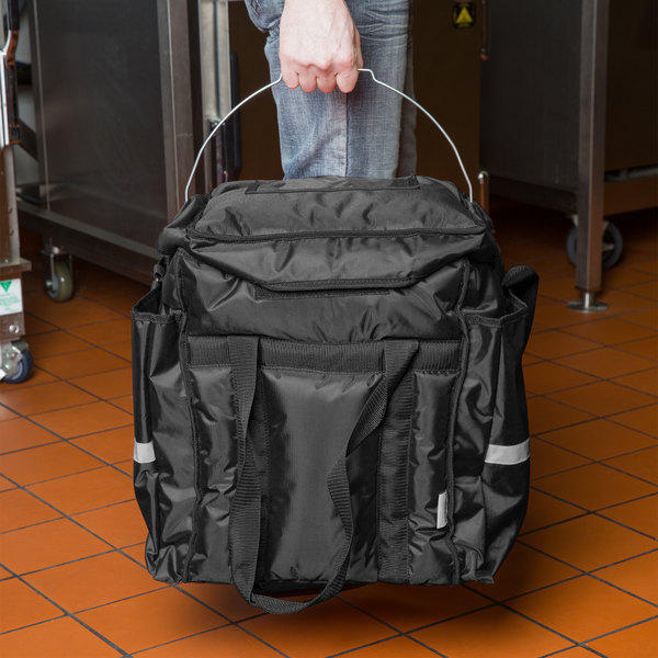 """ServIt Heavy-Duty Insulated Food Delivery Bag, Black Soft-Sided Nylon with 22 Qt. Container, Lid and Thermal Pack, 13"""" x 13"""" x 15 1/2"""" Main Image 7"""