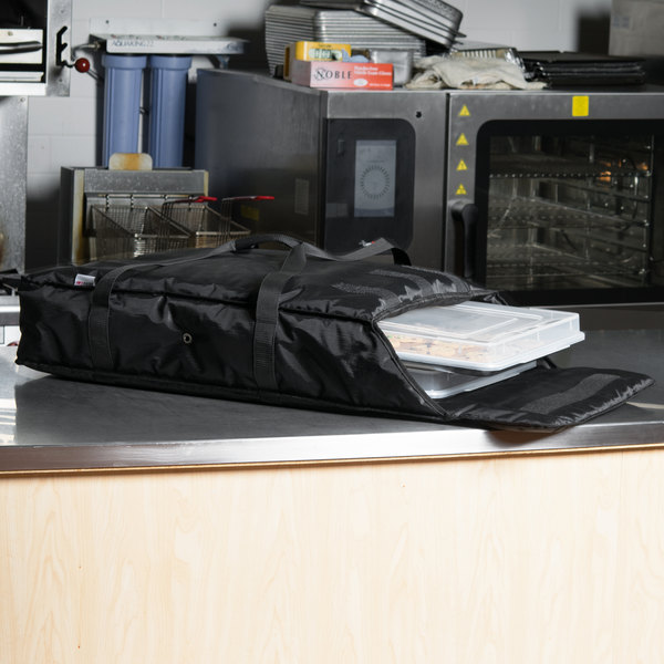 """ServIt Soft-Sided Sheet Pan Carrier, Black Nylon with 2 Full Size Bun Pans and Bun Pan Covers, 28"""" x 20"""" x 6"""" Main Image 5"""