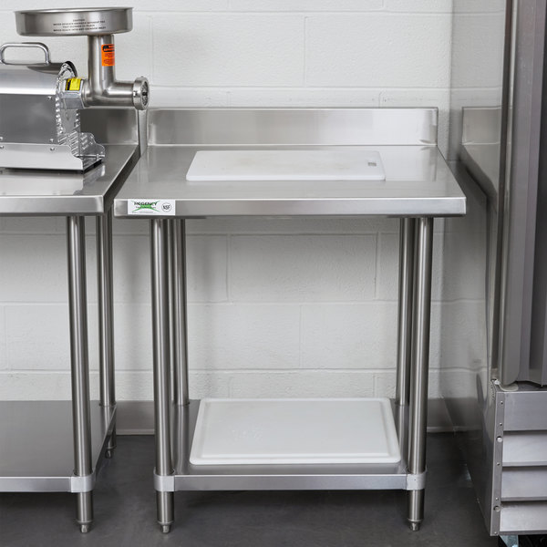 "Regency Spec Line 24"" x 30"" 14 Gauge Stainless Steel Commercial Work Table with 4"" Backsplash and Undershelf"