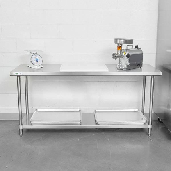 "Regency Spec Line 24"" x 72"" 14 Gauge Stainless Steel Commercial Work Table with Undershelf"